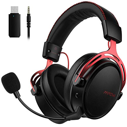 Mpow Air 2.4GHz Wireless Gaming Headset - PS4 Headset with Stereo Surround Sound, 17 hours Wireless Use (Wired Optional), Detachable Noise Cancelling Mic, Over-Ear Gaming Headphones