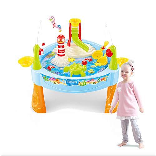 WGXQY Tavolo da Spiaggia per Bambini, Set da Gioco con Piscina di Sabbia, Cortile Interno può Giocare Un Grande Set da 24 Pezzi, Giochi con Giochi d'Acqua di Sabbia, Regali per Bambini