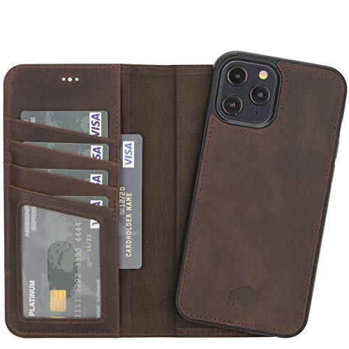BlackBrook by Burkley Case iPhone 12 Pro Max Wallet Case - Carson Leather Detachable Wallet Case for iPhone 12 Pro Max (6.7') - Magnetic Snap-on Card Holder w/Kickstand (Distressed Antique Coffee)