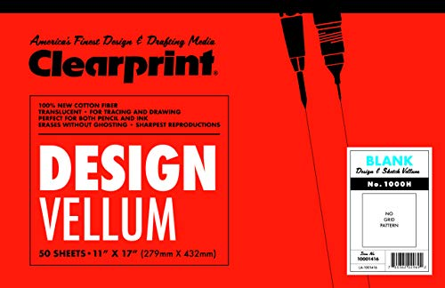 Clearprint 1000H Design Vellum Pad, 16 lb, 100% Cotton, 11 x 17 Inches, 50 Sheets, Translucent White, 1 Each (10001416)