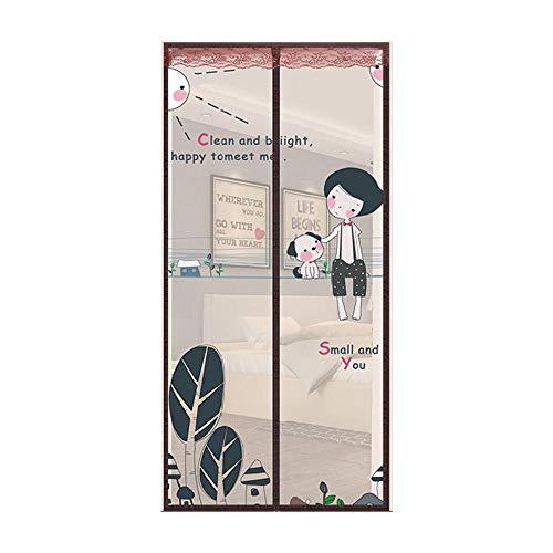 ZJXSNEH Cortina Anti-Mosquitos Puerta De Pantalla Suave Magnética Sin Banda Magnética Pantalla De Cifrado De Verano Chico Moreno 90X210cm