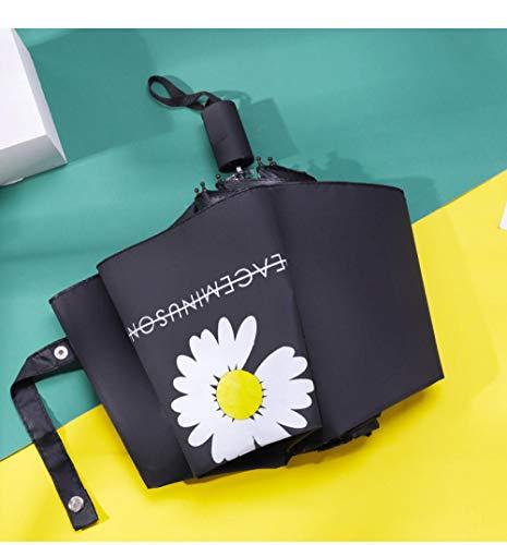 MMWW Little Daisy Manual Ladies Vinyl Sunscreen Umbrella-Manual Daisy Daisy [Black]