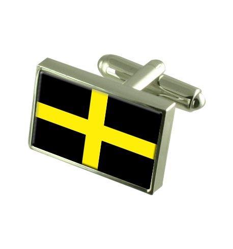 Croix de St David Boutons de manchette drapeau avec select pochette cadeaux
