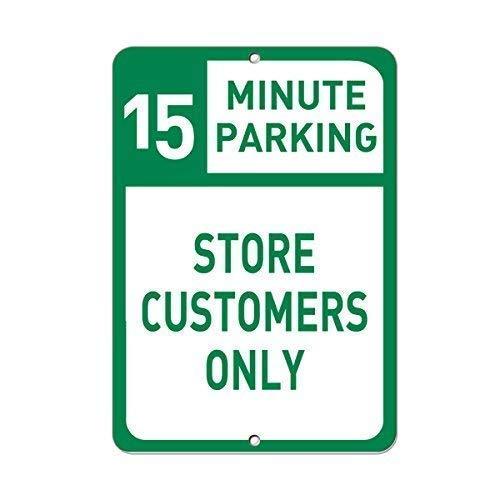 BDTS Metall-Warnschild 20,3 x 30,5 cm Schild 15 Minuten Parkhaus Kunden nur Parken Schild Aluminium Metallschild