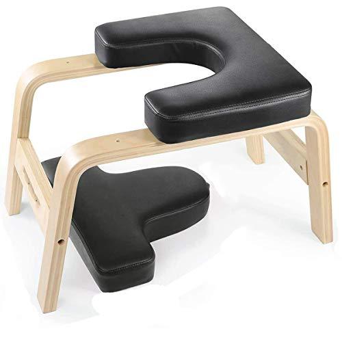ZHBD Banco da Tavola Yoga, Supporto in Legno Inversione Sedia Sgabello Sgabello con Pastiglie in PVC per Allenamento, Palestra Domestica Unisex- Alleviare L'affaticamento