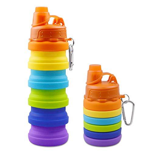 Obbsen Botellas de Agua de Silicona Plegables, 500ml Taza de Viaje Grado Alimenticio a Prueba De Fugas Sin BPA para Gimnasio, Camping, Senderismo