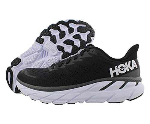 HOKA ONE ONE Clifton 7 Wide Womens Shoes Size 7.5, Color: Black/White