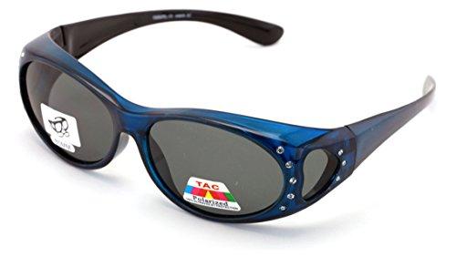 V.W.E. En Forma Polarizada Sobre Las Gafas De Sol Diamantes De Imitación Marco Rectangular De 60 Mm Corazón Templo Para Mujeres (Azul)