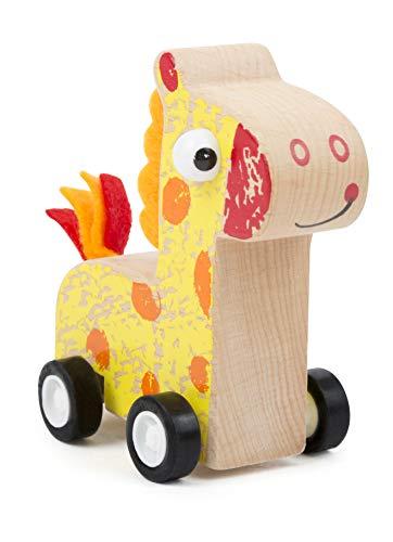 Small Foot 11149 Rückzieh-Tier Giraffe aus Holz, FSC 100%-Zertifiziert, hochwertiges Rückziehtier zum Aufziehen und Fahren Spielzeug, Mehrfarbig