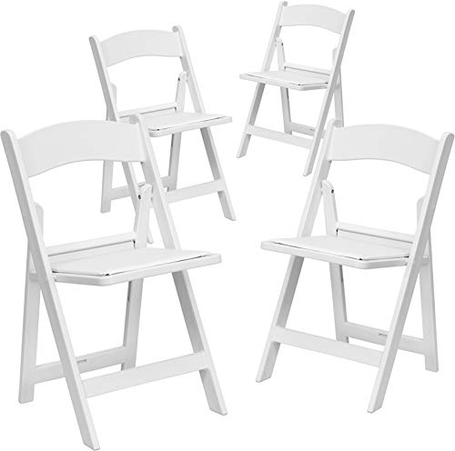 Emma + Oliver 4 Pack Heavy Duty 1000 lb. Rated Lightweight Resin Folding Chair - 4 Pk. Chairs (White)
