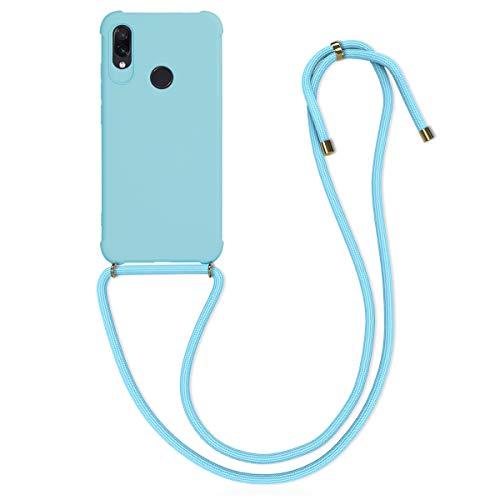 kwmobile Funda con Cuerda Compatible con Xiaomi Redmi Note 7 / Note 7 Pro - Carcasa de TPU Mate con Colgante en Azul Claro