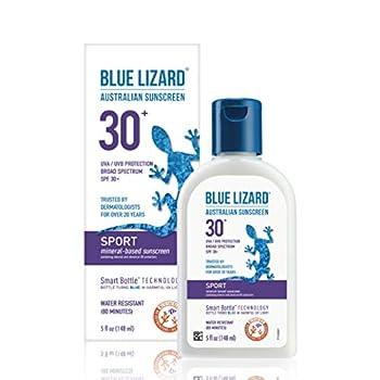 BLUE LIZARD Sport Mineral-Based Sunscreen - No Oxybenzone No Octinoxate - SPF 30+ UVA/UVB Protection 5 Fl Oz
