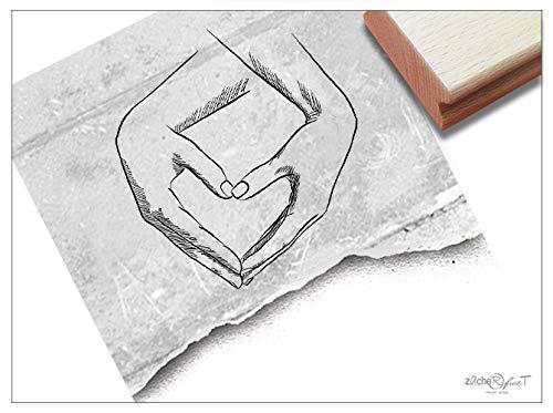 ZAcheR-fineT Stempel, hartvormig in handen, fotostempel, liefdesgroet, cadeau, Valentijnsdag, verloving, huwelijk, kaarten, gastgeschenk, tafeldecoratie