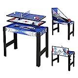 JCFDE Multigame Spieletisch Mega inkl. komplettem Zubehör, Spieltisch mit Kickertisch, Billardtisch, Tischtennis, Hockey usw.