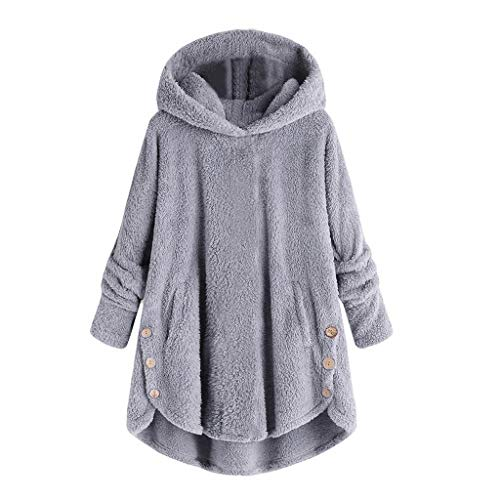 SEEGOU Damen Sweater Jacke Fashion Plus Size Button Plüsch Hooded Tops mit Kapuze Wolle Reine Farbe Pullover Pullover Bluse Mantel