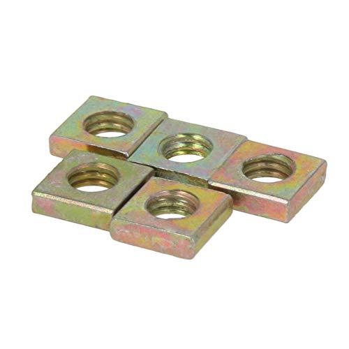 MroMax Square Nuts M6x10mmx3mm Yellow Zinc Plated Metric Coarse Thread Assortment Kit Yellow zinc 50Pcs