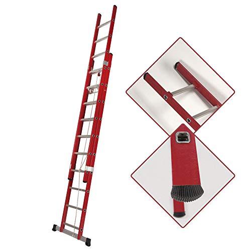 Escalera Transformable Dos Tramos de Fibra de Vidrio con Cuerda (2,5 Mts_2x9 Peldaños)