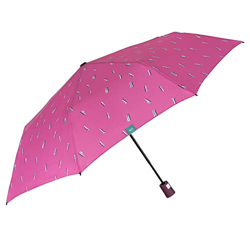 Ombrello Pieghevole Automatico Colorato Donna - Ombrellino Tascabile a Colori in Microfibra - Ombrello da Viaggio Piccolo Antivento Resistente - Diametro 96 cm - Perletti (Rosa con Lettere)