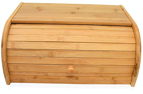 Natural Bamboo bread boxes for kitchen counter Roll Top Large Bread Box Kitchen Food Storage - (Assembly Required)