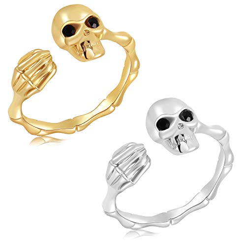 Silver Adjustable Skull Rings for Women Men,Bamboo Shape Skull Head Hand Middle Finger Thumb Rings Punk Jewelry Gothic Rings Halloween Gifts (C-Gold and Silver Skull Open Ring)