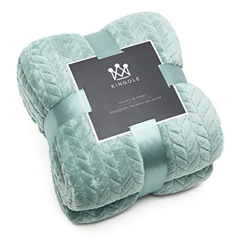 Kingole Flannel Fleece Luxury Throw Jacquard Weave Blanket, Celadon Twin Size Leaf Pattern Cozy Couch/Bed Super Soft and Warm Plush Microfiber 350GSM (66 x 90 inches)