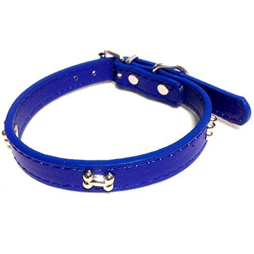 犬 首輪 小型犬 スタッズ 鋲 ボーン おしゃれ かわいい 骨の形 首周り 25-31cm 幅 1.4cm (ネイビー)