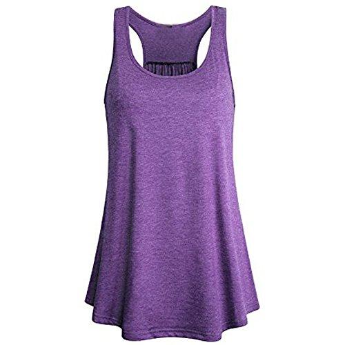 Lulupi Damen Tank Top Locker Long Shirt Rundhals Ärmellos Einfarbige Bluse Frauen Casual Sport Luftig Longtop Oberteil Basic Unterhemd Tops