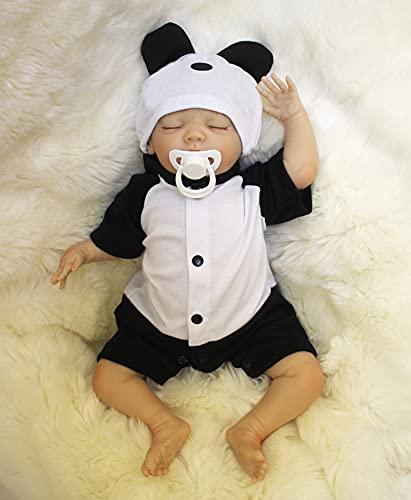 MAIDE DOLL Reborn Muñecas de bebé de Vinilo de Silicona Suave Realista Recién Panda Coat Negro Zapatos de Pantalones Nacido para niños Mayores de 3 años Juguete-50CM