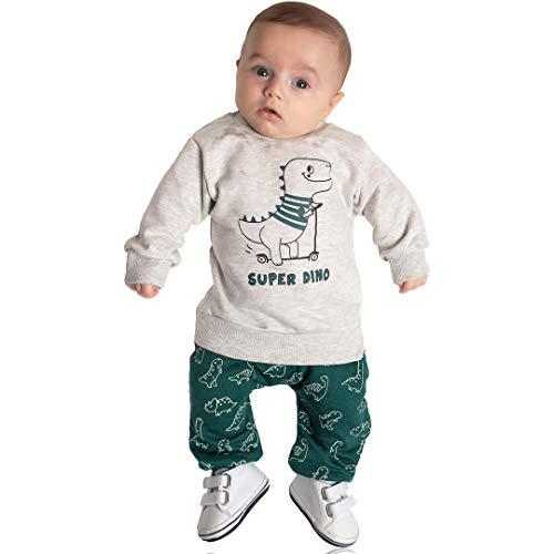 Conjunto Moletom Bebê Menino Calça e Blusa Dinossauro (P)