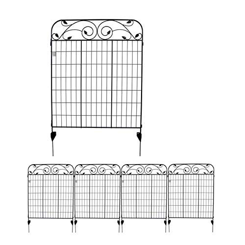 MTB Black Coated Metal Side Outdoor Patio Gate Steel Decorative Garden Fence Panel 112cm Hx 91cm W (4 Pack, Linear Length 12 feet) 8 Leaves, Metal Border Folding Fence