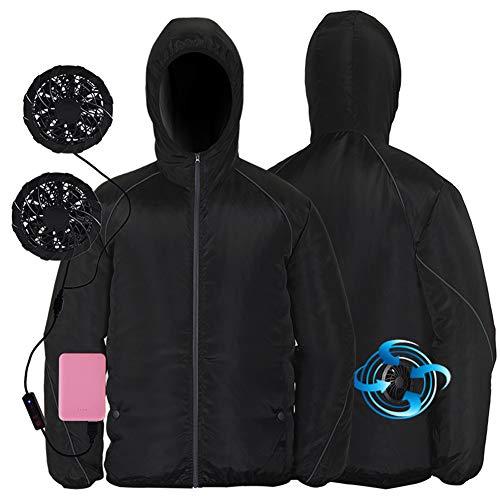 YYH Lüfter Jacke, Sommerklimaanlage Kleidung Mit 2 Lüftern - 4-Fach Verstellbarer Kühl Anzug Arbeitskleidung Ausgerüsteten Fan - Für Camping, Radfahren, Wandern,2,XXXL