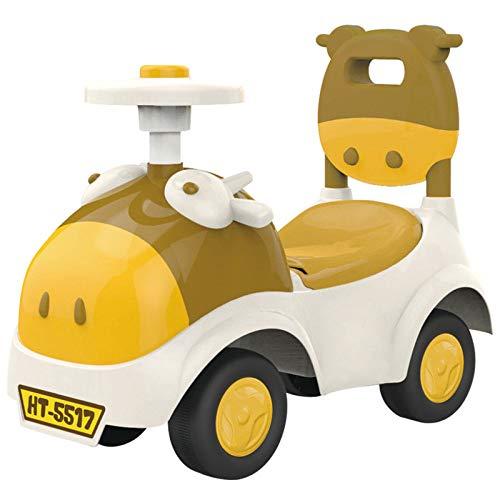 GHH Little Pig Enfants Baby Walker 1/2-3 Ans Bébé Scooter Twist Car Musique à Quatre Roues,1.8kg,Yellow