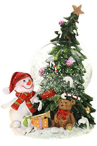 Creation Gross glitzernde Schneekugel, Schneemann mit geschmücktem Weihnachtsbaum und Geschenken H.: 13cm