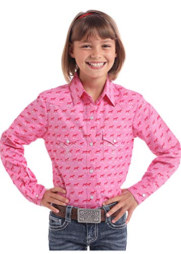 Price comparison product image Panhandle Girls Horse Print Shirt L Pink
