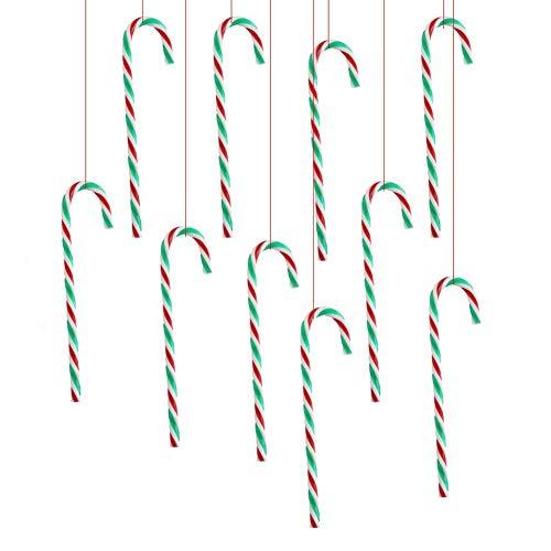LUVODI 10 x Bastón de Caramelo de Navidad, Bastones Colgantes de Plástico, Adornos de Bastón para Árbol de Navidad, para Decoración de Fiesta, de Vacaciones, Multicolor
