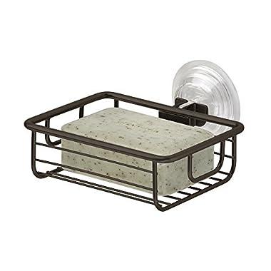 mDesign Suction Bar Soap Holder for Bathroom Shower - Bronze