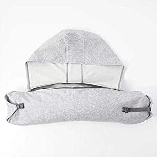 YYBF Almohada de Cuello de Almohada en Forma de U con Gorra para Cubrir la Almohada de Descanso de Almuerzo de Viaje del avión Partículas de Espuma Gris Humo