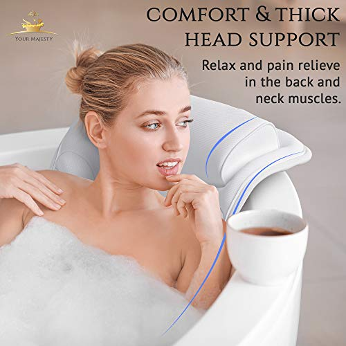 Premium Full Body Bath Pillow For Tub [22 Anti-Slip Suction Cups], Extra Soft Neck
