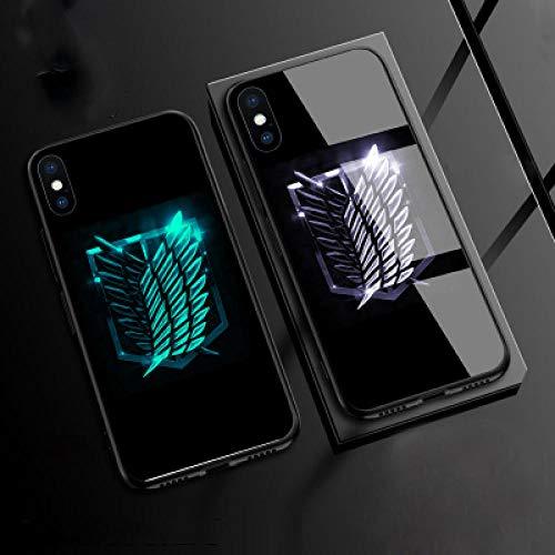 Carcasa de Telefono,Funda Protectora para iPhone Funda para Teléfono 3D Carcasa de Vidrio Templado Brillo Nocturno Antifricción Anime Attack On Titan Serie (Compatible con iPhone XS)
