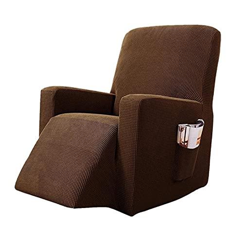 Funda De SillóN,Funda De Sofa Estiramiento reclinable Silla Cubierta sólido Todo Incluido Masaje sofá Cubierta de sofá para Sala de Estar Impermeable Asiento único Asiento (Color : Light Brown)