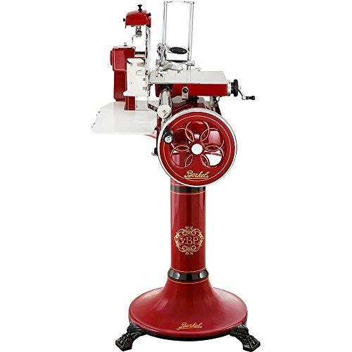 Berkel Volano B3 handbetriebene Aufschnittmaschine mit Blütenverziertes Schwungrad, Messerdurchmesser 300 mm Rot und Sockel