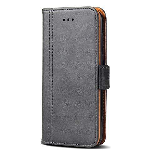 Bozon Lederhülle Hülle für Xiaomi Redmi Note 5 (Global Version) / Note 5 Pro - Cover Flip Tasche mit Ständer & Kartenfächer - Dunkel Grau