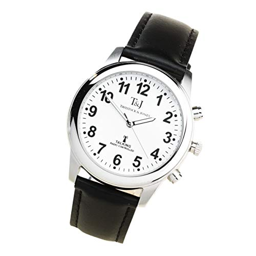 T&J Mens Radio Controlled Atomic Talking Speaking Watch with Black Leather Strap