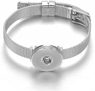 Mesh Bracelet Stainless Steel Snap Button Bracelet Novelty Crystal Love Charm Bracelet Belt Shape DIY Accessories (SZ0452j)