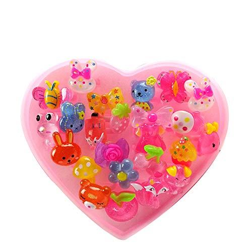 Creativa niña Conjunto de regalo del amor del corazón en forma de anillo de dibujos animados de los niños anillo Pretend Juguete vestido hasta Anillos niñas regalo 24pcs Crystal Tipo aleatoria
