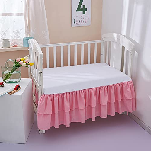 JSD Pink Double Layer Crib Skirt Dust Ruffle 14