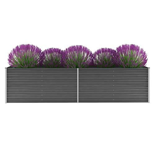 Festnight Pflanzkübel Gartenpflanzen Blumentopf Blumenkasten Gartenbeet für Gartenpflanzen Gemüseanbau KräuteranbauVerzinkter Stahl 320x80x77 cm Grau