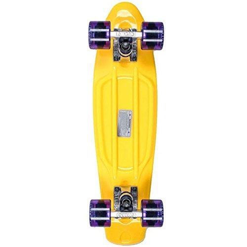 Stereo Skateboards Estéreo monopatín Vinilo Cruiser Monopatín, Yellow/Raw/Purple