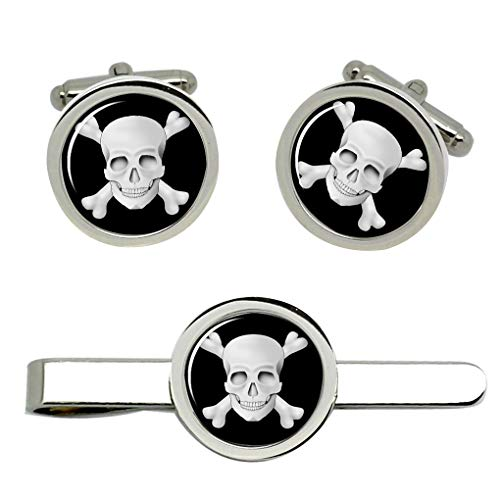 Giftshop UK Totenkopf Jolly Roger Manschettenknöpfe und Krawatte Clip Set