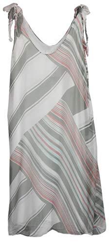 BZNA Ibiza Empire Sommerkleid Weiß gestreift Seidenkleid Bozana Sommer Herbst Seidenkleid Damen Dress Kleid elegant